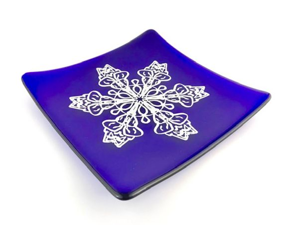 Blue Snoflake Platter by JLS Glass $46