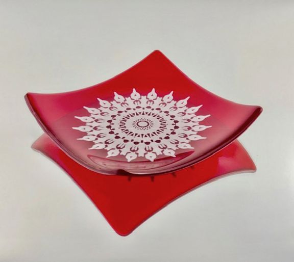Red Snowflake Platter by JLS Glass $46