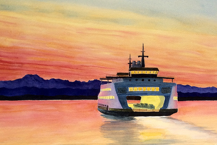 Evening Ferry by Roger Baker $98