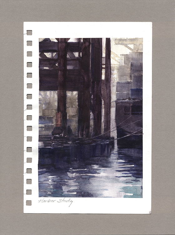Harbor Study by William Hook $300