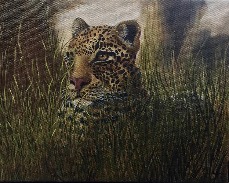 Leopard in Waiting by Laura Doerflinger $325