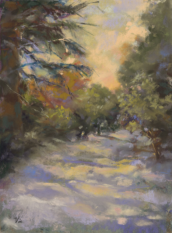Peach and Lilac Shadows by Vicki Johnson $175