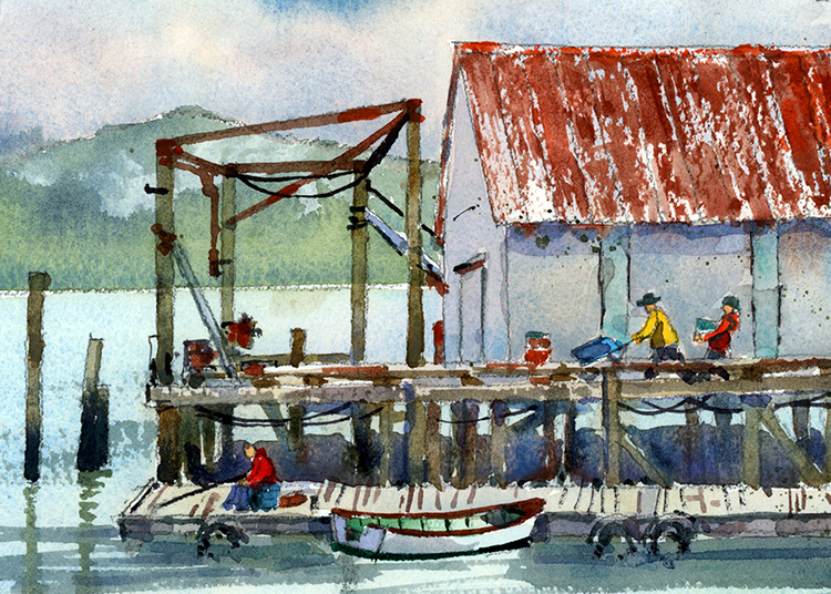 Willapa Bay Dock by James McFarlane $135