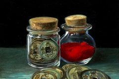 Song Dynasty Coins and Vermillion Pigment by Frankie Gollub $300