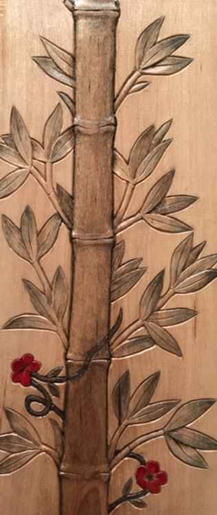 Web Bamboo with red flowers - Naomi Schneider   $100