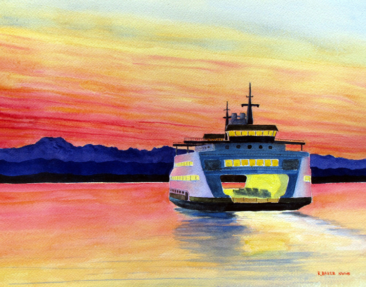 Evening Ferry by Roger Baker
