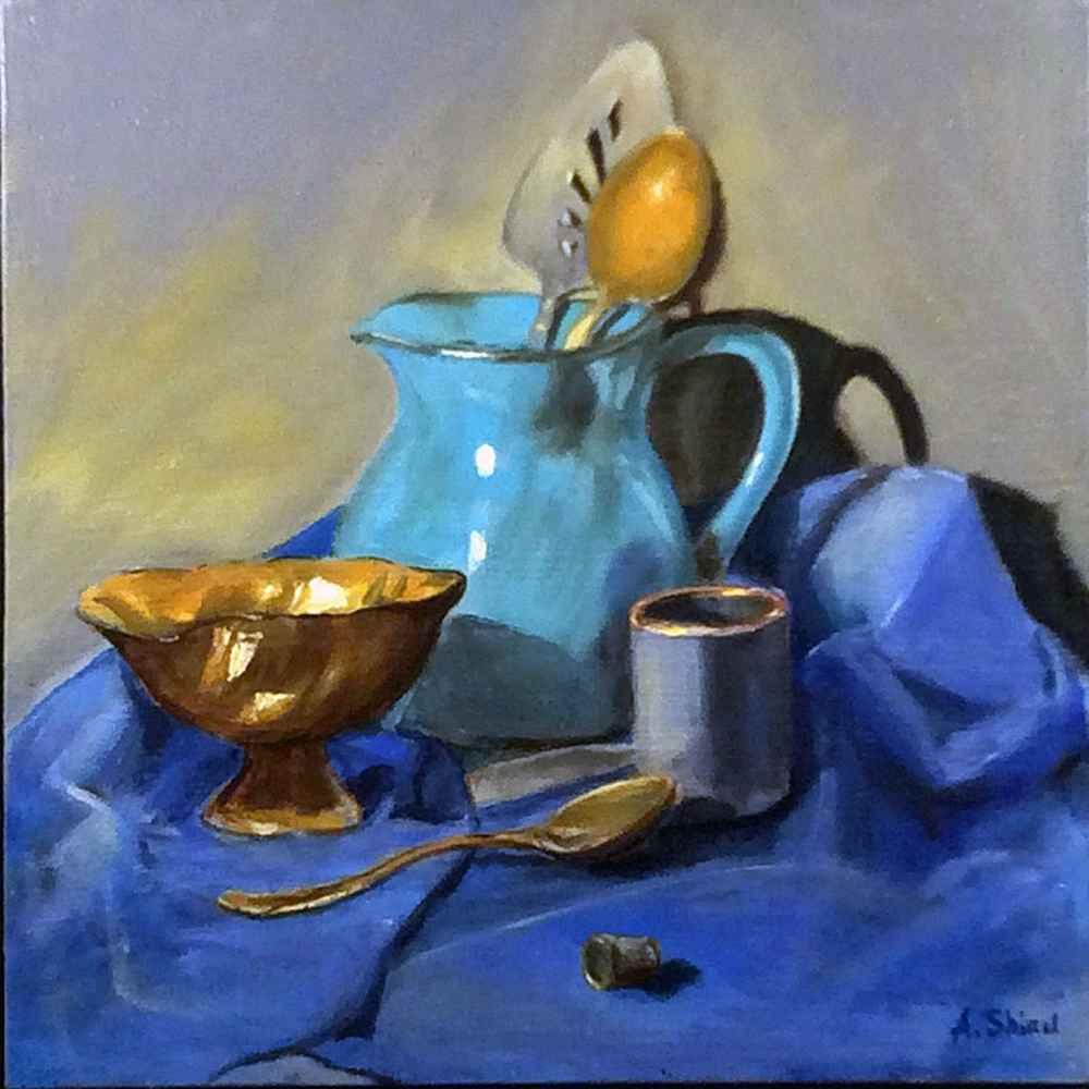 Web Shiau, Enmey  Still Life Blue Vase Oil $650