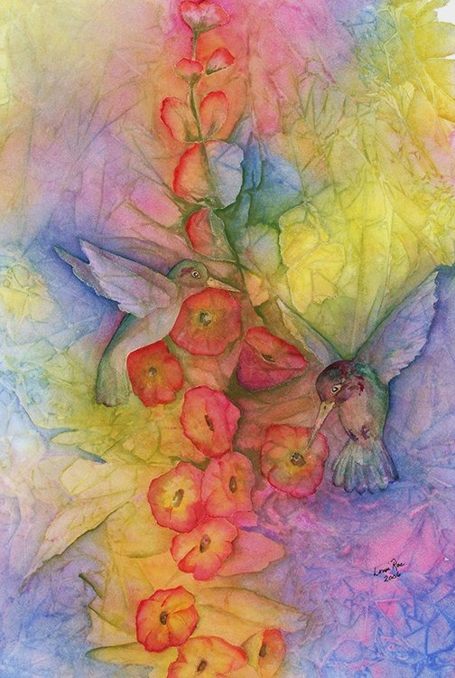 Web L_Flowers_Hollyhocks and Hummers_22x28_$750