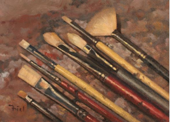Brushes on Palette by Michael Friel $190 - Sold