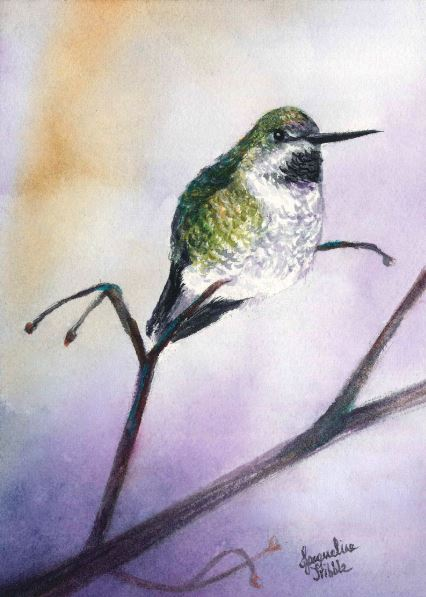Hummingbird in Chartreuse by Jacqueline Tribble $245