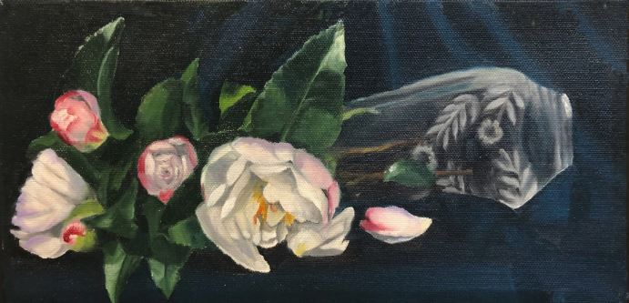 White Camellias in an Etched Glass Vase by Kathleen Tevnan $185