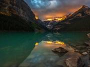 WEB Lake Louise Sunrise Fire by Mike Reid