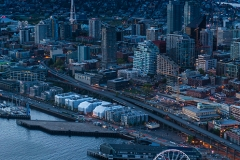 WEB Aerial Seattle Dusk and the Wheel by Mike Reid