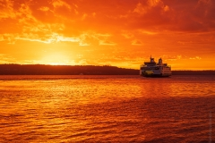 WEB Mukilteo Ferry Sunset Crossing Reflection by Mike Reid