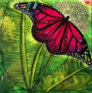 WEB Butterfly on Leaf by Jeannine Frazier Boone $150