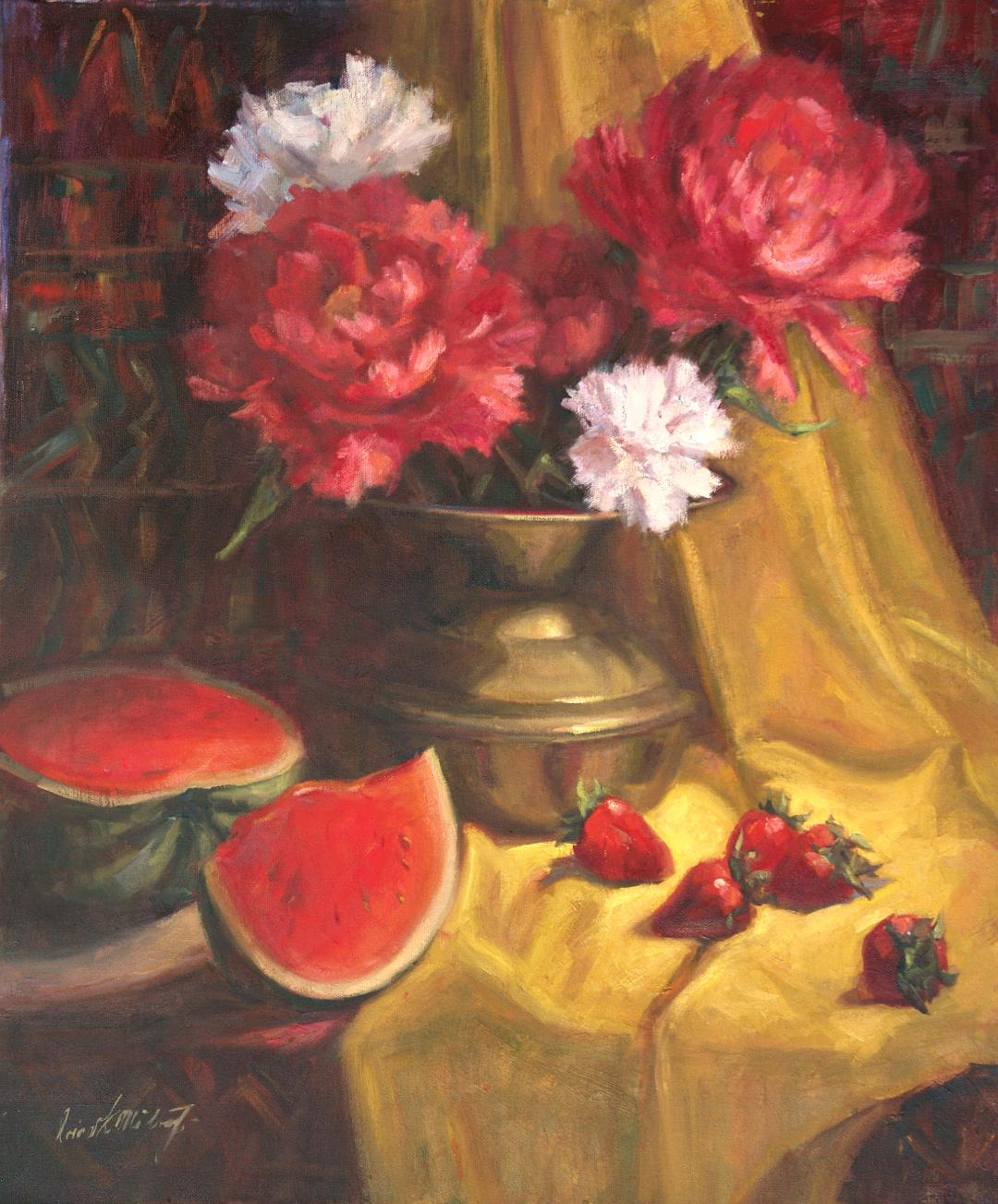Still Life with Peonies and Fruits, by Irina Milton