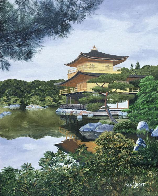 Kinkaku ji Golden Pavilion Kyoto by Ben Groff, Oil
