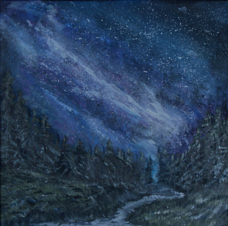 Milky Way Above the Stream by Theresa Williams, Acrylic