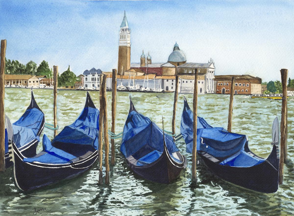 1st Sight of Venice by Lynnea Mattson, Watercolor